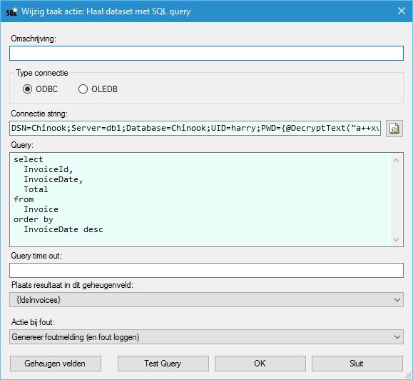 Haal dataset met SQL query